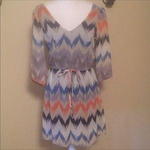 Fully lined dress chevron print size medium